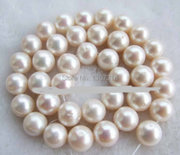 free shipping Natural AAB 11 12mm Round White Fresh Water Pearl Beads 15