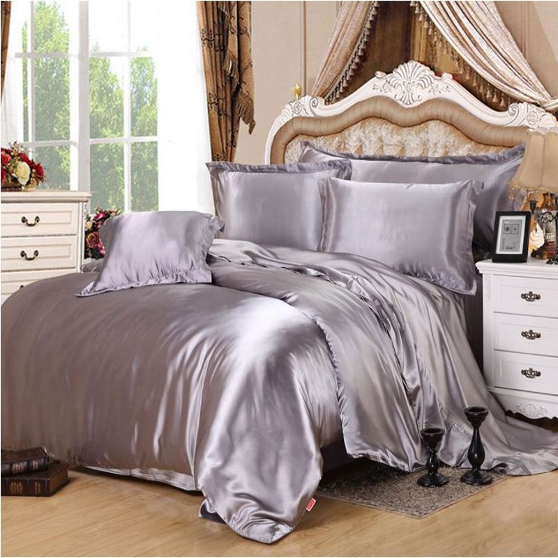 Silver Gray Imitate Silk Satin Bedding Set 4pcs Solid Color Duvet Cover Bedclothes Bed Sheet Pillowcases Twin Queen King In Sets From Home