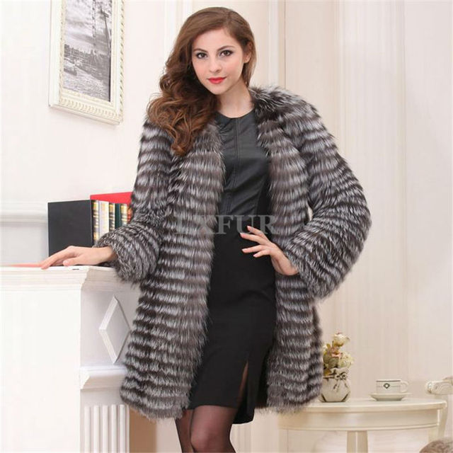bee626b88d Luxurious Plus Size Luxurious Womens Silver Fox Fur Parka Long Striped  Design Real Fur Coat Fashion
