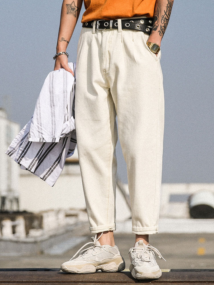 男性白洗浄ファッションカジュアルルーズデニムハーレムパンツ白のジーンズのズボン  グループ上の メンズ服 からの ジーンズ の中 1