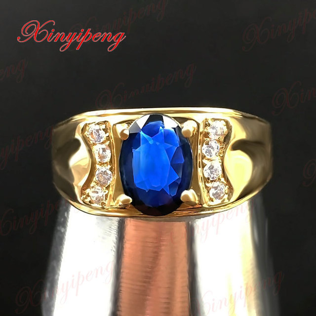 18 k gold inlaid natural sapphire ring ring 6 by 8 male contracted sedate Dark blue 1