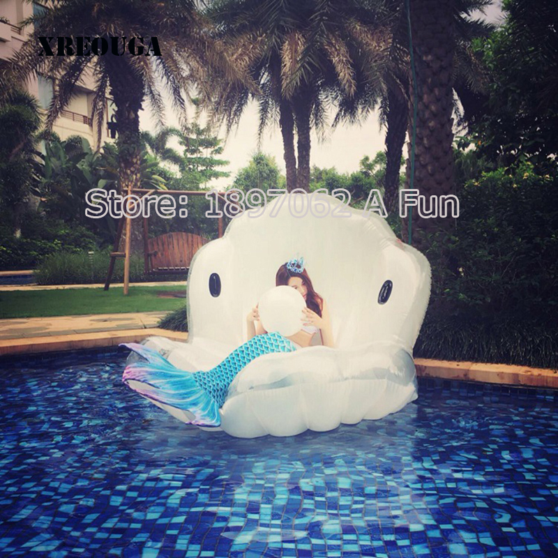 Adults Giant Pool Float Pearl Scallops Inflatable Shell Floating Mattress Lounger With Handle and Decoration Pearl Ball PF013 environmentally friendly pvc inflatable shell water floating row of a variety of swimming pearl shell swimming ring