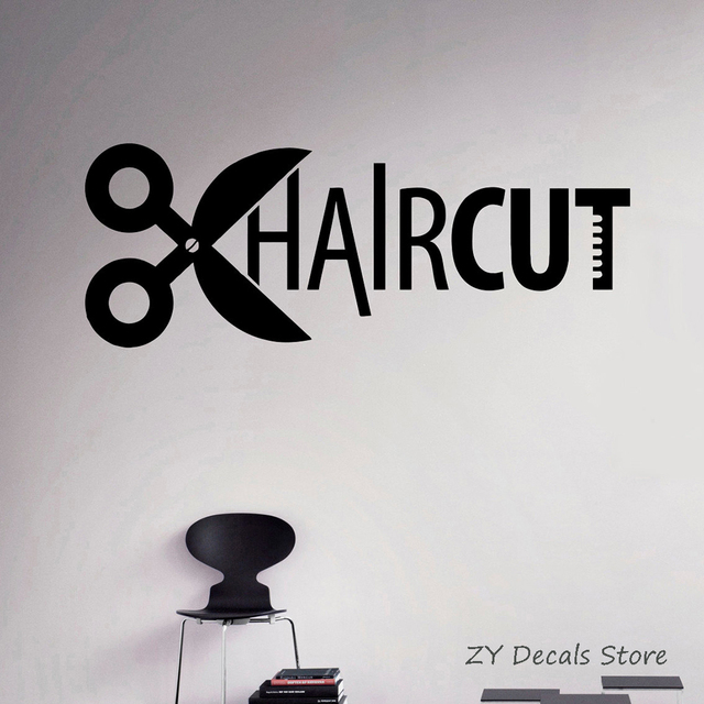 Haircut Vinyl Decal Hairdressing Salon Wall Sticker Hairstyles Home