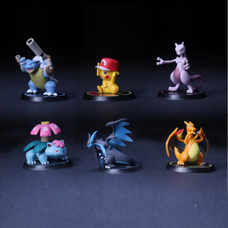 6 PCS Action Figures Toys Gifts Toy Pvc Collections Christmas Model For Pokemon With Stand