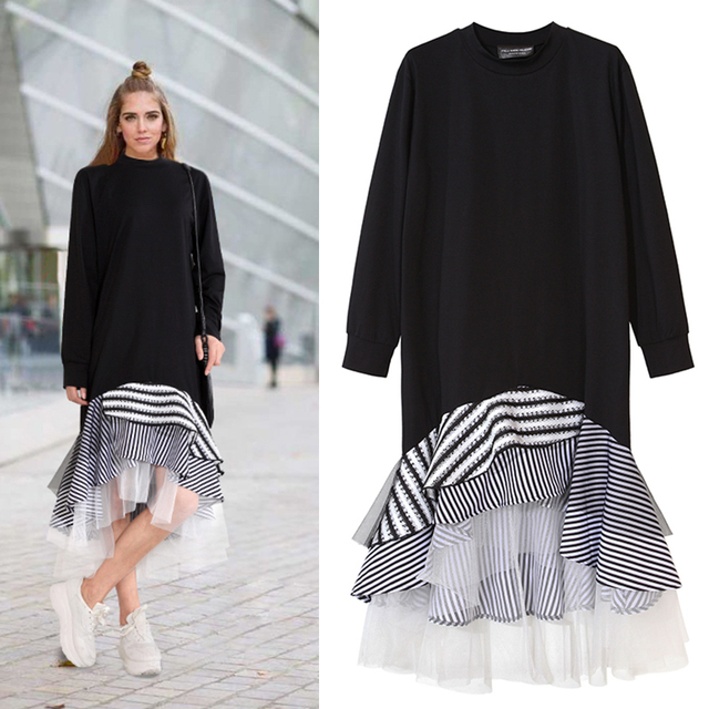 TWOTWINSTYLE 2020 Women Long Sleeve T Shirt Midi Dress Patchwork Stripe Mesh Ruffle Flare Asymmetrical Hem Pullover Casual
