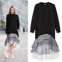 TWOTWINSTYLE 2017 Spring Mesh Patchwork Layers Striped Ruffles Loose Long Sleeve Dress Women T Shirt