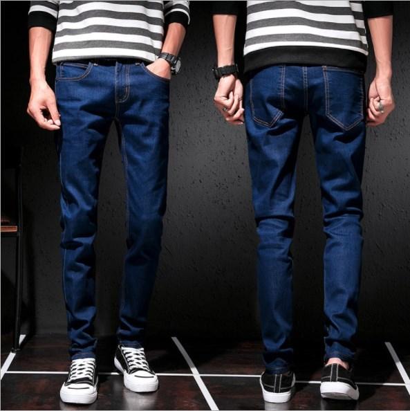 High Quality Korean   Jeans   for Men Regular Strech   Jeans   Slim Men Pencil   Jeans   Trousers Mens Long Denim Pants 4 Seasons