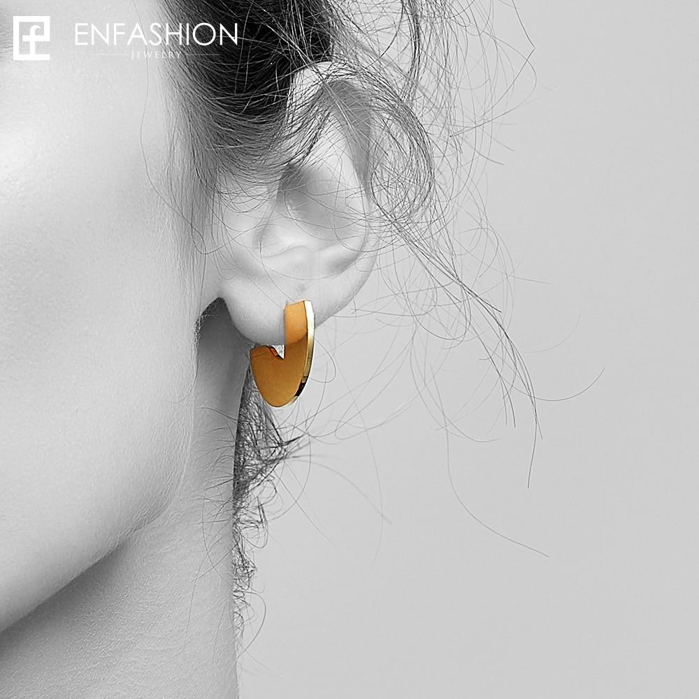 Enfashion Punk Geometic Semi-circle Fan Stud Earrings Gold color Ear Jacket Stainless Steel Earrings for Women Earings oorbellen enfashion wholesale geometric triangle ear jacket earrings stud earring gold color earings stainless steel earrings for women