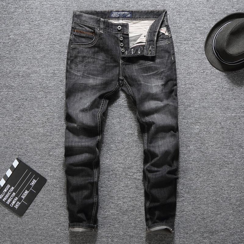 Italian Designer Men Jeans Fashion Streetwear Black Gray Color Slim Fit Buttons Classical Jeans Balplein Brand Jeans Men Pants