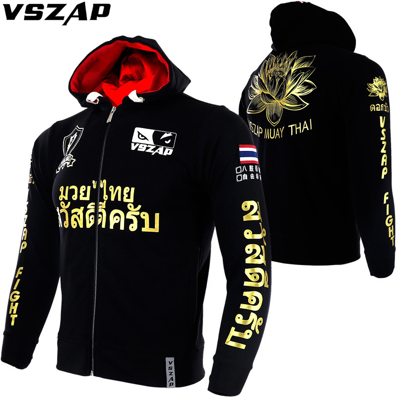 VSZAP MMA Long Sleeve Lotus Hoodies Sports Jacket Running Fighting Boxing Hoodie With Hood Muay Thai Training Fitness Jakcet