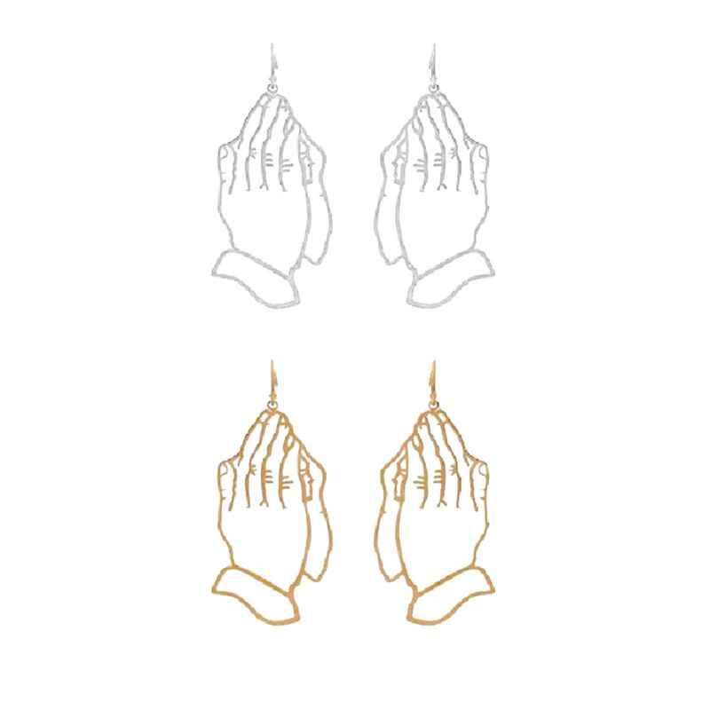 Полые абстрактные сложенные руки поклонение вере молитва висячие серьги Модные ювелирные изделия