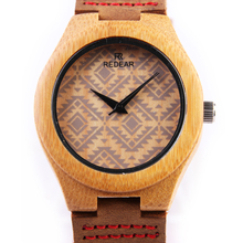 REDEAR Square Stripe Watch Fashion Bamboo Wristwatch With Genuine Cowhide Leather Strap Couple Wooden Watches Best Gift P25