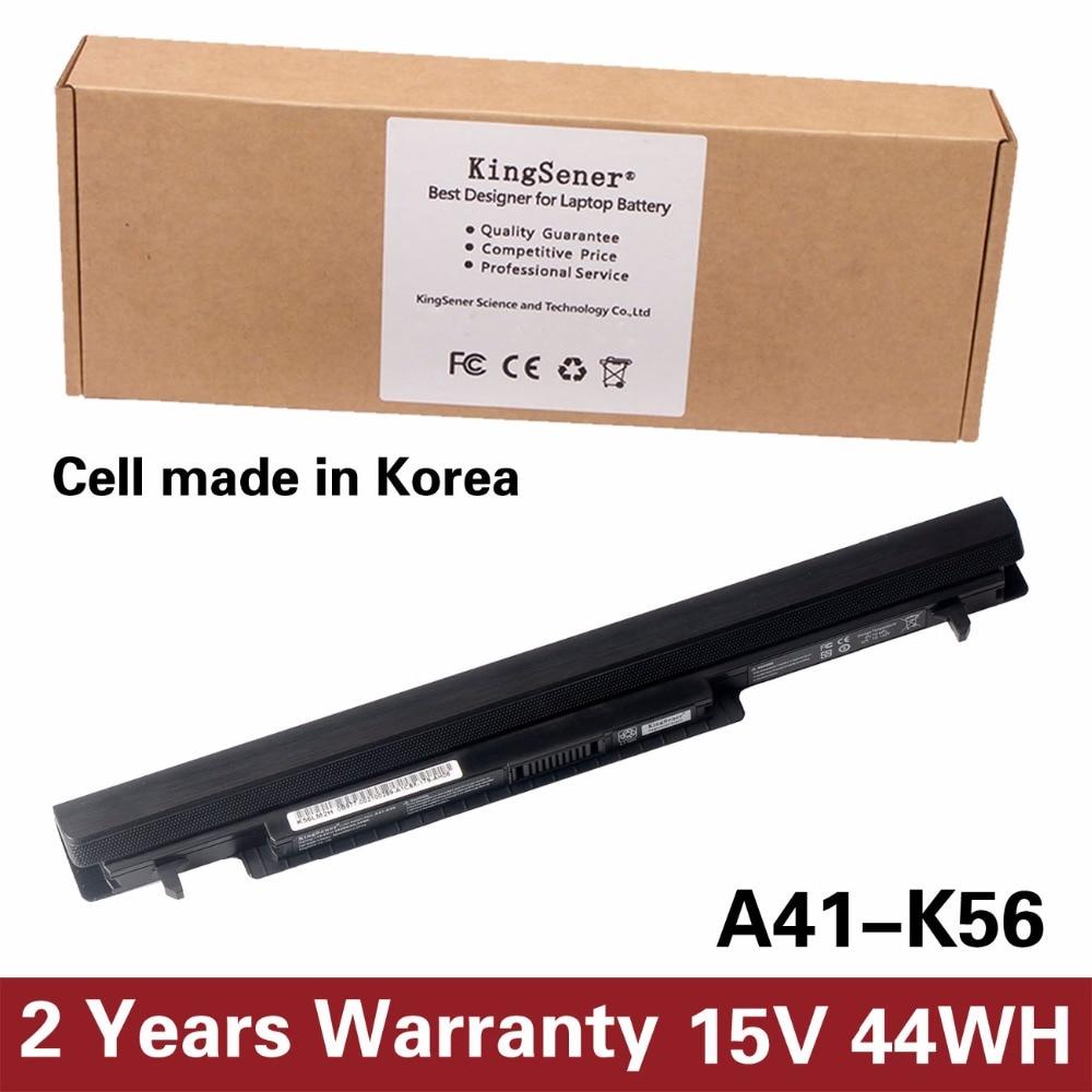 Korea Cell KingSener New A41-K56 Battery for ASUS K46 K46C K46CA K46CM K56 K56CA K56CM S46C S56C A32-K56 A42-K56 15V 2950mAh laptop battery for asus a42 g750 g750j g750jh g750jm g750js g750jw g750jx g750jz 15v 5900mah 88wh