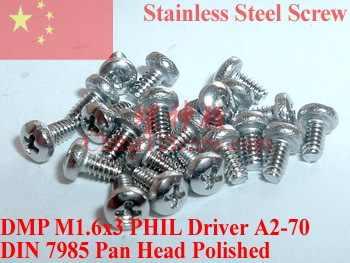 Tornillo de acero inoxidable M1.6x3 DIN 7985 Pan Head 0 # Philips Driver A2-70 ROHS 100 piezas pulido