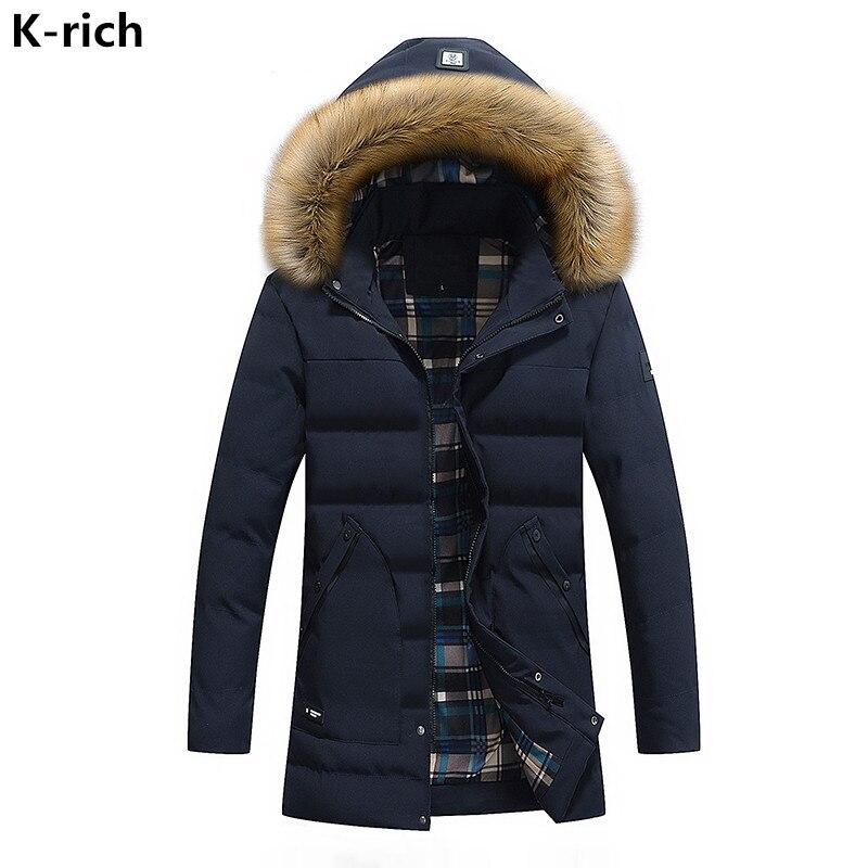 K-rich 2017 Winter Jacket Men Parka Coat Fashion Plus Size Turn-down Collar Hooded Big Fur Collar Long Wadded Jacket For Male boglioli k jacket пиджак