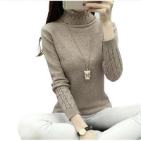 Autumn Winter Fashion Women Sweaters Turtleneck Sweater Women Tops Twisted Thickening Slim Solid Color Pullover Sweater