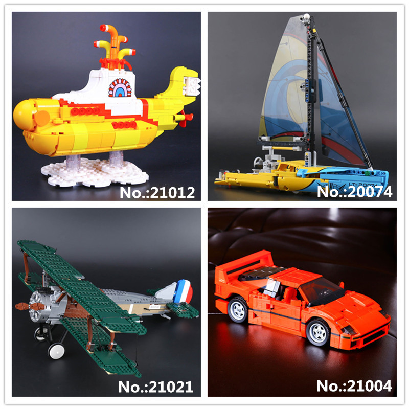 LEPIN 20074 The Racing Yacht 21004 Red F40 Race Car 21012 The beautiful submarine 21021 The Camel Fighter Building Block 10226 the camel club