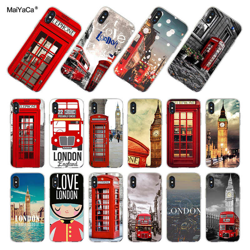 MaiYaCa For iPhone XS MAX 7 8 Plus London big ben Bus Telephone Box Phone Case for iPhone 8 7 6 6S Plus X 5 5S SE XRCover