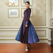 VOA Plus Size Purple Vintage Swing Dress Heavy Silk Women Slim Tunic Maxi Long Dresses Chinese Soft Stain Clothes Fall ALX15701