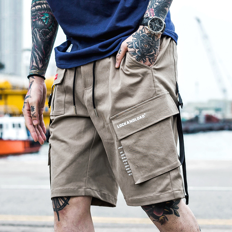 New Men Streetwear Cargo Shorts Pants Mens Hip Hop Casual Pocket Shorts Male Loose Work Shorts Man Military Short Pants