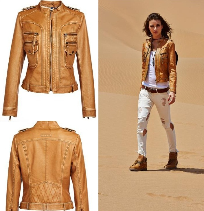 Womens Short Leather Jacket - Jacket