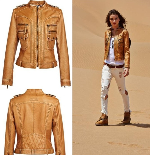 Online Shop Brand New Women's PU Leather Jackets Ladies' Short ...