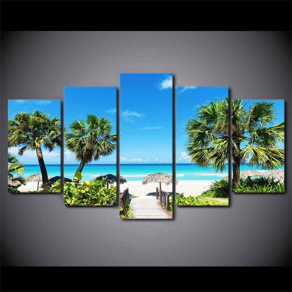 Modular-Canvas-HD-Printed-Poster-Home-Decor-Framed-5-Pieces-Beach-Seascape-Painting-Coconut-Grove-Pictures (1)
