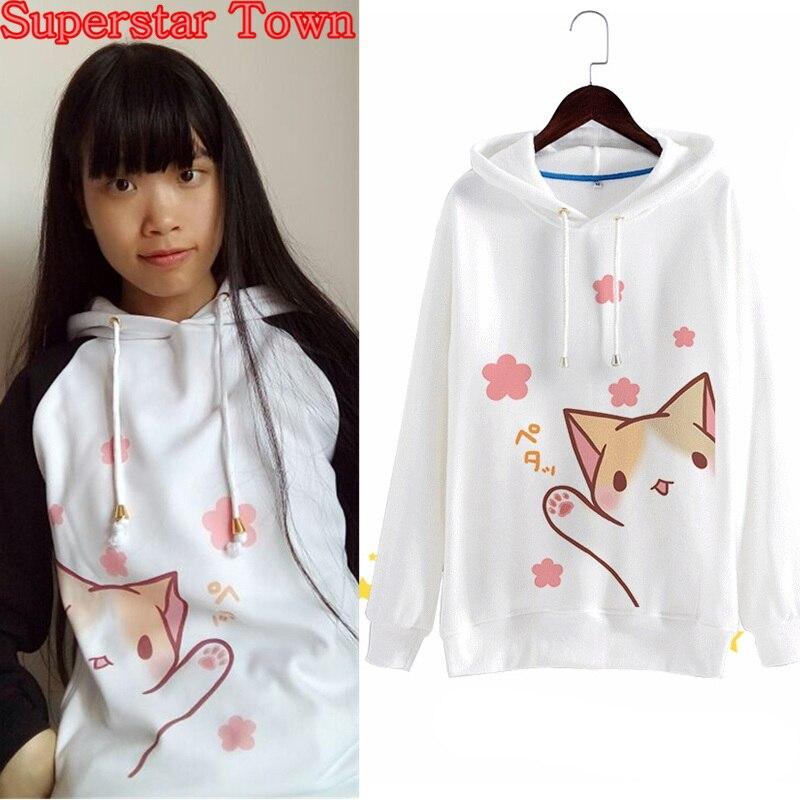 Women Sweatshirts Japanese Kawaii Hoodies Harajuku Winter Mori Girl Cherry Blossoms Anime Cat Lolita Hooded Hoodie Fleece Coat