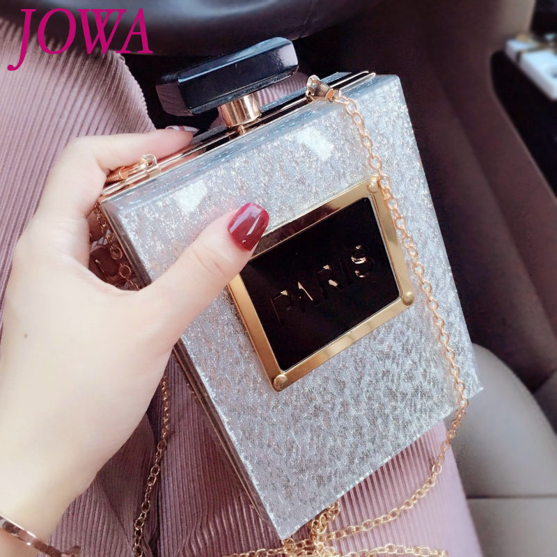 Women Fashion Shoulder Clutch 2017 New Design Socialite Mini Evening Bag Night Black Purse Wedding Party Perfume Bottle Handbags fashion box evening bag oil painting flower black lock clutch bag strap mini tote bag ladies purse trunk white women handbags