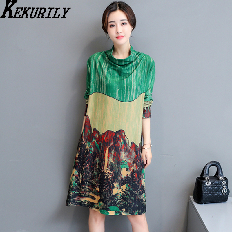 KEKURILY women party shirt dress elegant vintage noble green Chinese style dresses female full sleeve warm thick midi clothing