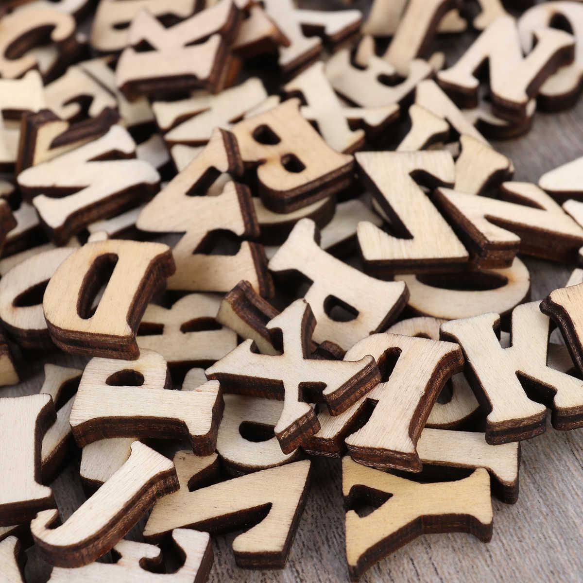100 шт. деревянный без финишной отделки Capital буквенный алфавит DIY Дерево вырез диски для лоскутное Скрапбукинг художественных промыслов (не 26 букв)