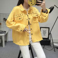 New Women Flash Rivet Vintage Denim Jean Jacket 2018 Autumn Winter Tops Black Yellow Pink Army Green Femme Loose Streetwear Coat