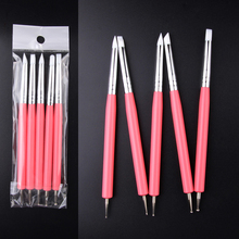ELECOOL 5PSC Nail Art New Acrylic 4 Color DIY Rod Silicone Point Flower Double Head Nail Pen Stainless Steel Dotting Tools
