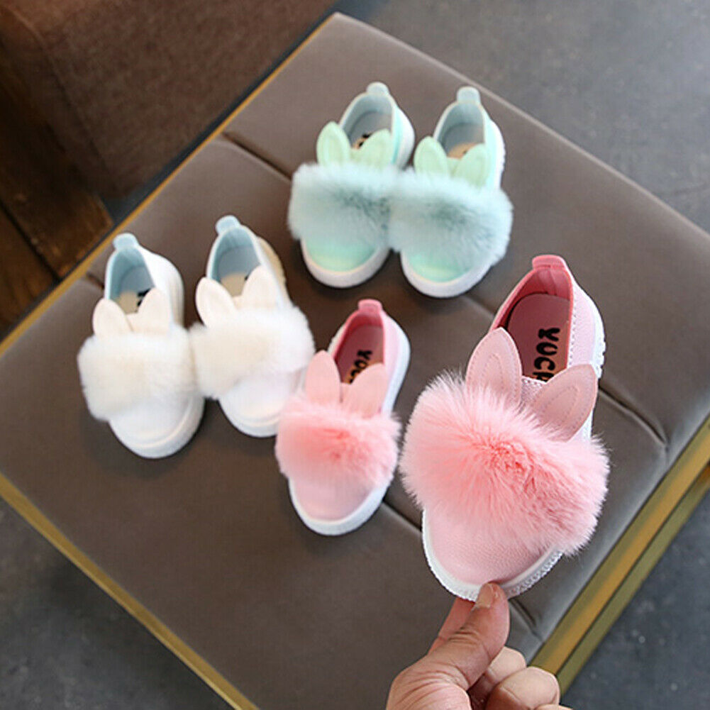 Pudcoco 2019 Brand New Baby Shoes Princess Infant Baby Girls Cute Rabbit Anti-slip Soft Sole Shoes Fluffy Crib Shoes