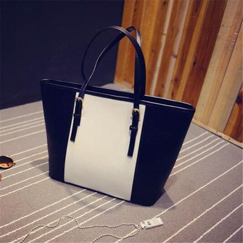 PU leather handbag 2016 autumn new tide female bag personality hit the color black and white with large capacity shoulder bag 2016 new fashion personality wire hand bag handbag shoulder bag xiekua package pu pink brown black female bag fabric