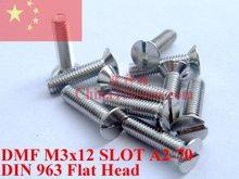 Винты из нержавеющей стали M3x12, разъем DIN 963, стандартный полированный ROHS, 100 шт.