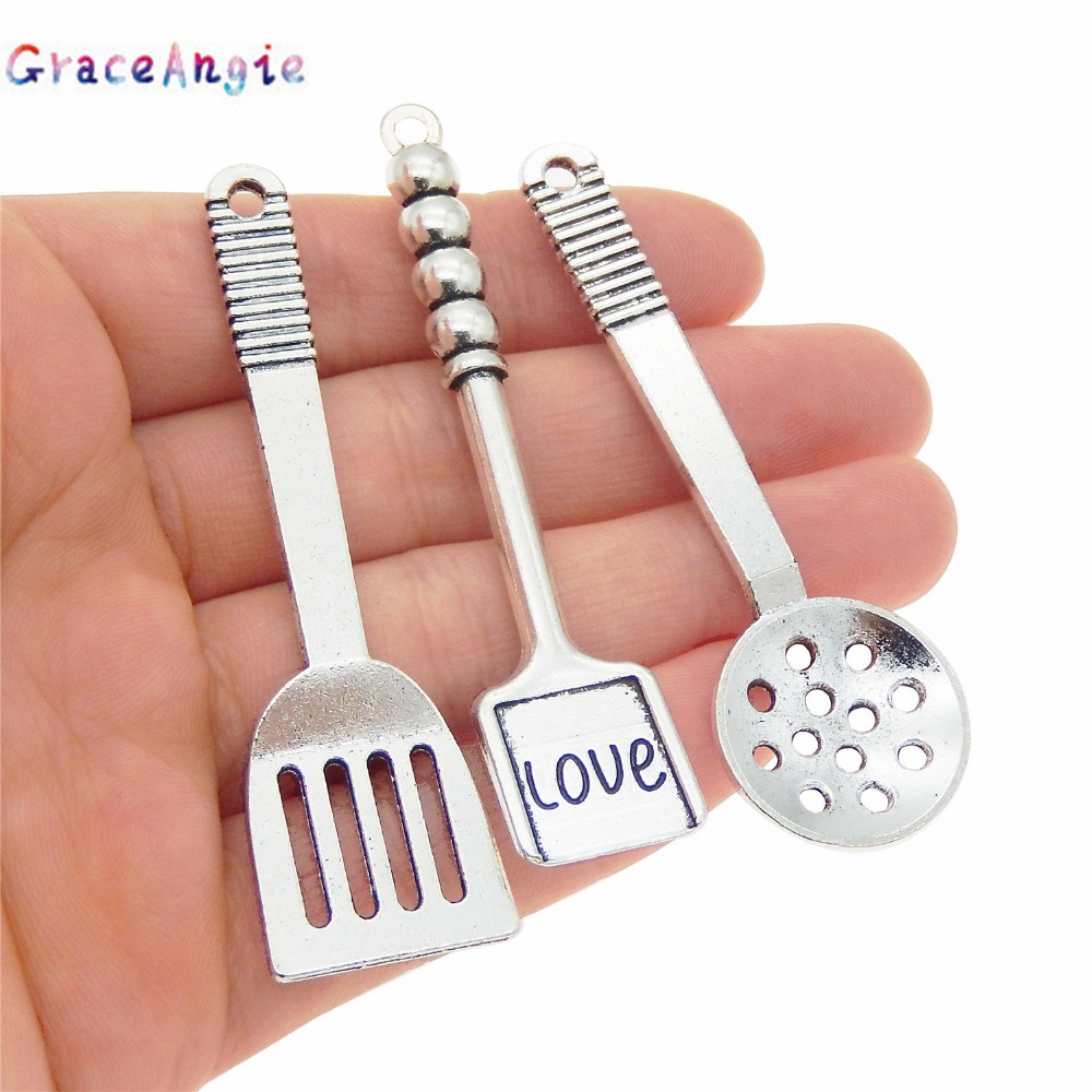 Mix Ancient silver Spatula charms Cook Tool ladle Charms Necklace Accessories Tableware Cookware Alloy Pendants Jewelry