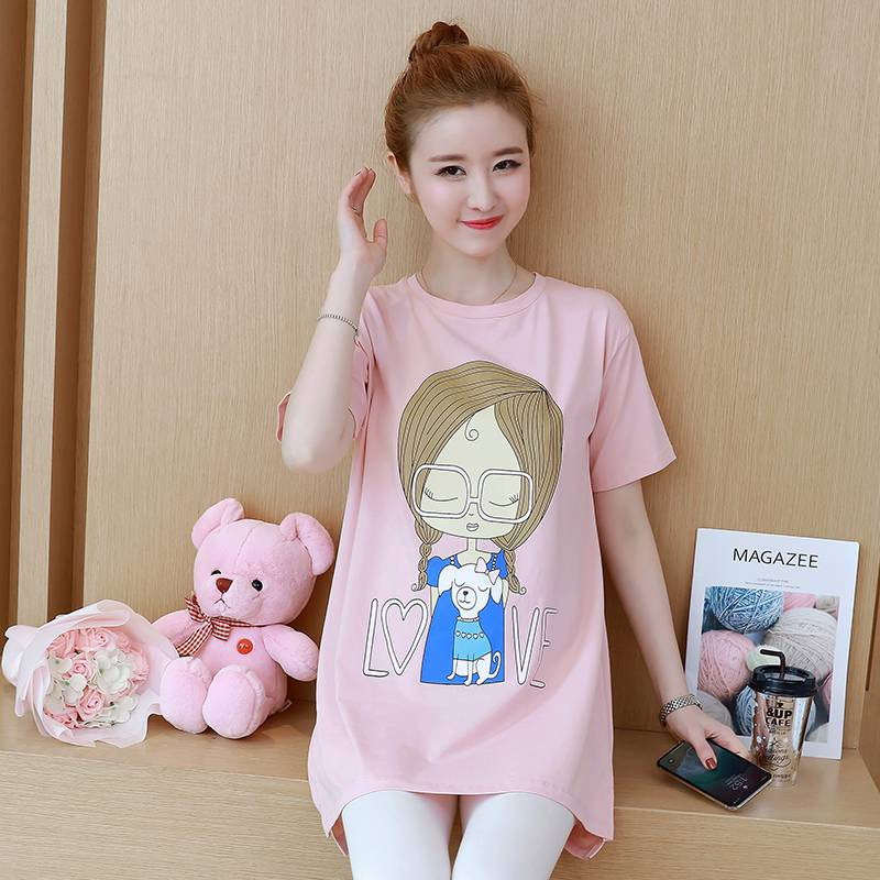 Korean version of the maternity dress summer new cartoon printing in the long shirt short-sleeved large size loose pregnant wome