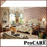 Европейский Мебель кожа двуспальная кровать/принцесса кровать Мебель для спальни prf072