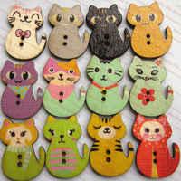 Botones de animales 144 piezas al azar mezcla gato series dibujos animados botones de madera para álbum de recortes accesorios decorativos botones de gato