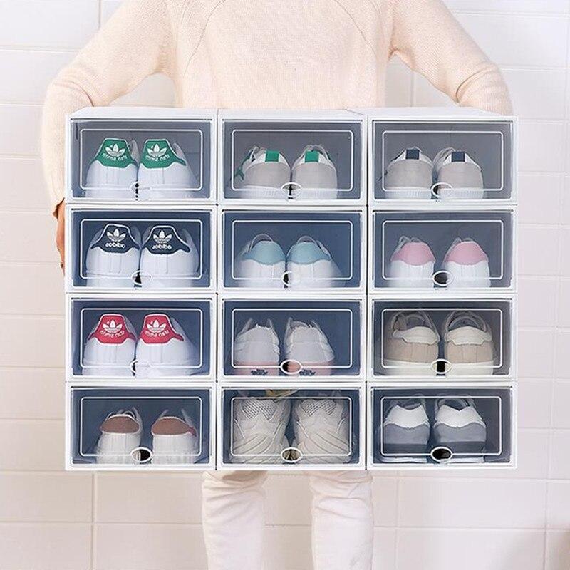 Home Creative Foldable Drawer Storage Boxe Combination 6PC Transparent Portable Environmental Multi-Purpose Dust-Proof Shoes Box