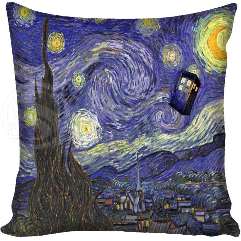 G0309 Ceară de comandă personalizată Tardis Dr Doctor Câmp de poliție Van Gogh Pernă de noapte pernă Dimensiune capac