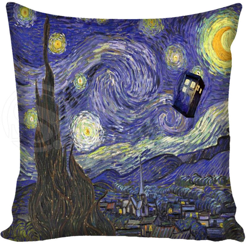 G0309カスタム枕カバーtardis博士ドクターフー警察ボックスヴァンゴッホ星明かりの夜枕カバーサイズ