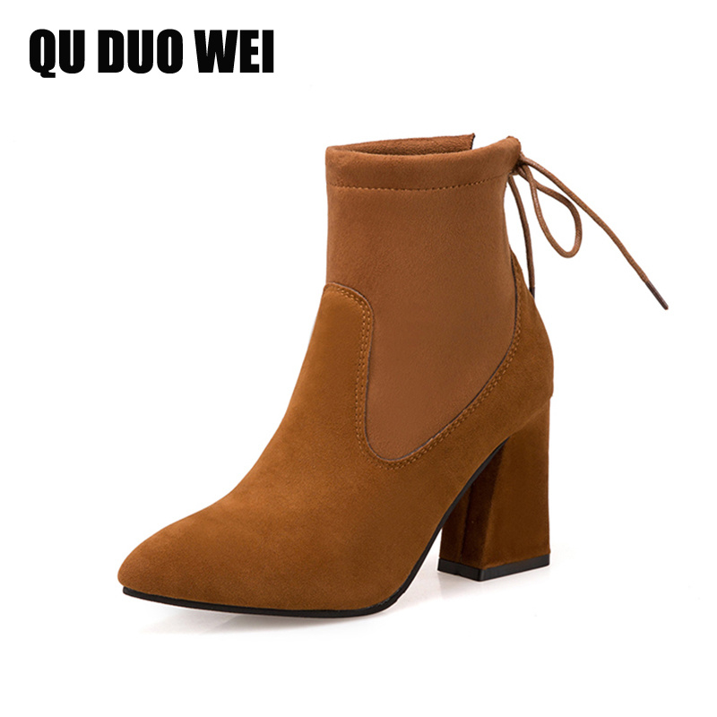 Women Suede Leather Ankle Boots Fashion Pointed Toe Lace-Up Thick High Heels Spring Autumn Shoes Woman Pumps Brown Black 2 gang 2 way touch switch us au standard wall light controler smart home automation crystal glass panel
