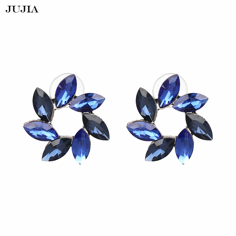 Special Design New Hot Brand Blue Flower Stud Earrings Jewelry Women Female Engagement Statement Earrings