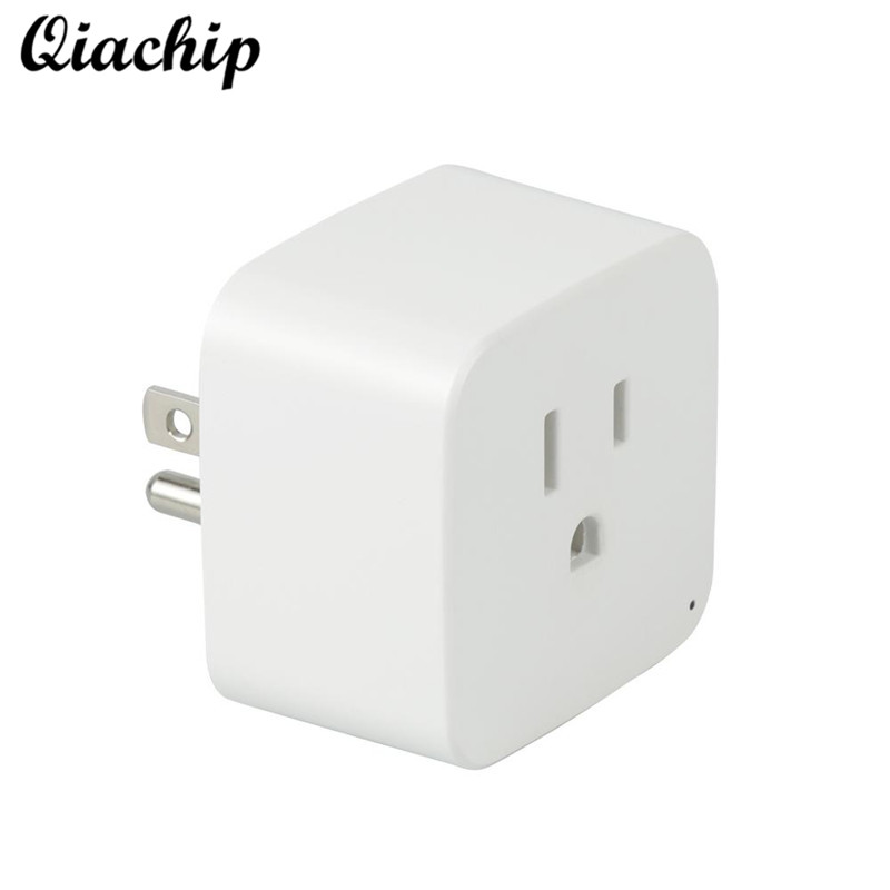 QIACHIP Mini Power Wifi Smart US Plug Outlet Switch Remote Control Socket Wireless Smart Switch For Smartphone Home Appliances wireless remote control power socket smart rf socket control power for home appliance compatible with g90b wifi gsm sms alarm