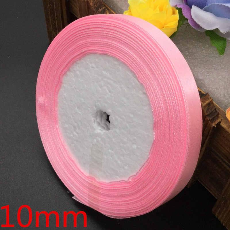 25 yardas 04 # cinta de raso para boda de seda Rosa fiesta embalaje de regalo de decoración Navidad Año nuevo ropa costura tela regalo Ribbo