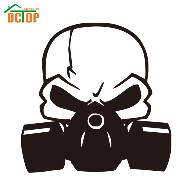 Skull Gas Mask Zombie Funny Gun Decals Vinyl Car Sticker Good Accessory Window Auto Removable Wallpaper