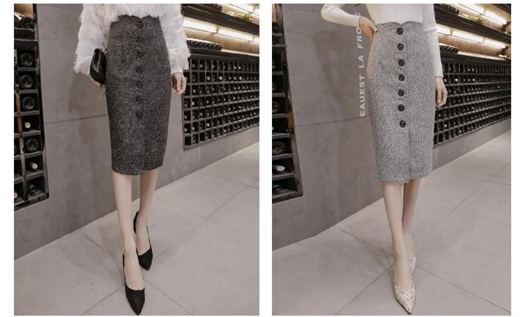 Neophil High Waist Woolen Button Pencil Midi Skirts Office Ladies Office Elegant Grey 19 Winter Wool Wrap Skirts Faldas S1738 4