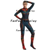 Captain Marvel Woman Cosplay Costume Spandex Tights Zentai Bodysuit Superhero Jumpsuits halloween Costume for woman Kids
